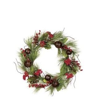 Pine Wreath with Bells & Berries