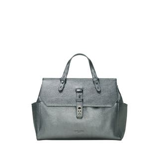 Liebeskind Berlin Idaho Grey Metallic Pebbled Leather Top-Handle Handbag|https://ak1.ostkcdn.com/images/products/18129428/P24281923.jpg?impolicy=medium