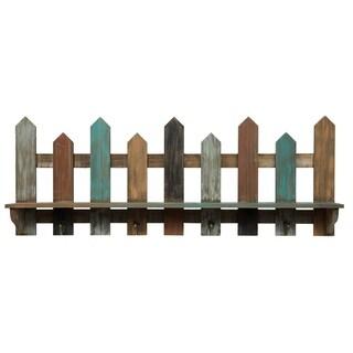 31.5X11.5 Wood Picket Fence Ledge Shelf with Hooks