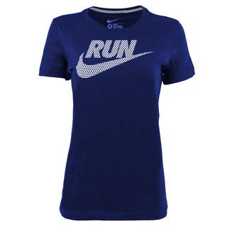 New Nike Women's Run Swoosh Tee Blue XL T-Shirt