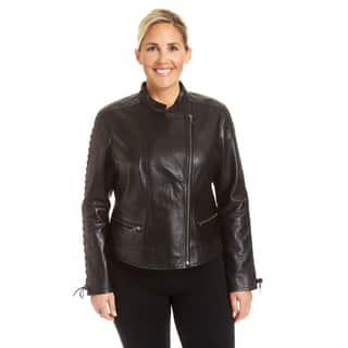 Excelled Ladies Plus Lambskin Moto with Self Lacing Detail|https://ak1.ostkcdn.com/images/products/18129537/P24282001.jpg?impolicy=medium