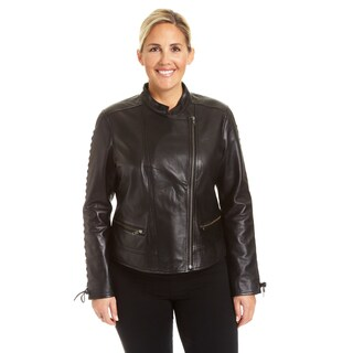 Excelled Ladies Plus Lambskin Moto with Self Lacing Detail