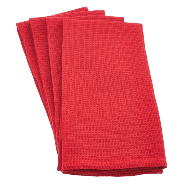 woven waffle weave cotton kitchen hand towel set of 4 pcs - Kitchen Hand Towels