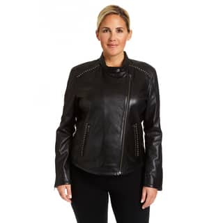 Excelled Ladies Plus Lambskin Moto with Stud Embelishment|https://ak1.ostkcdn.com/images/products/18129543/P24282002.jpg?impolicy=medium