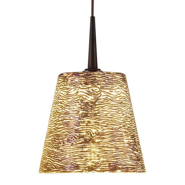 Bruck Lighting Bling Bronze Line Voltage Pendant with Silver Textured Hand Blown Glass