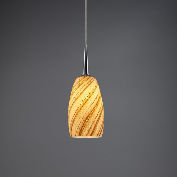 Bruck Lighting Mini Ciro Matte Chrome Sea Shell Hand Made Glass Line Voltage Pendant