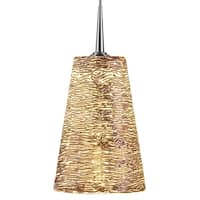 Bruck Lighting Bling Chrome Line Voltage Pendant with Silver Textured Hand Blown Glass