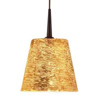 Bruck Lighting Bling Bronze Line Voltage Pendant with Gold Textured Hand Blown Glass