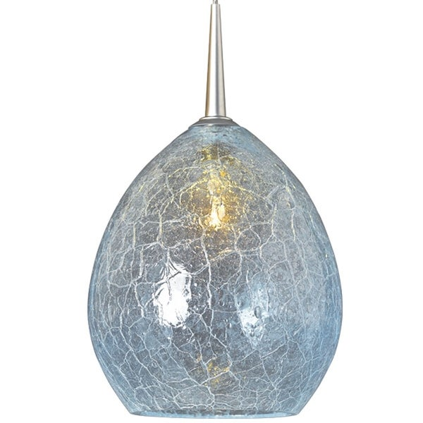 Bruck Lighting Vibe Matte Chrome Low-voltage Pendant with Glacier Artisan Glass Shade