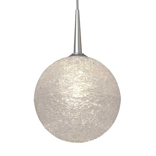 Bruck Lighting Dazzle I Matte Chrome Line Voltage Pendant with Clear Textured Glass