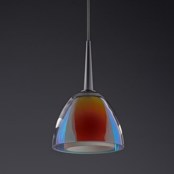 Bruck Lighting Rainbow 1 Matte Chrome Low Voltage Pendant with Sunrise Artisan Glass