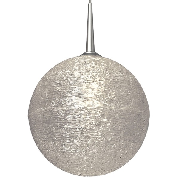 Bruck Lighting Dazzle II Matte Chrome Line Voltage Pendant with Clear Textured Glass - Silver