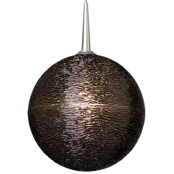Bruck Lighting Dazzle II Matte Chrome Line Voltage Pendant with Black Textured Glass