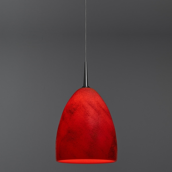 Bruck Lighting Alexander Chrome Line Voltage Pendant with Red Mouth Blown Glass