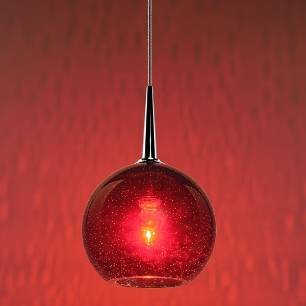 Bruck Lighting Bobo Chrome Line Voltage Pendant with Red Bubble Hand Made Glass