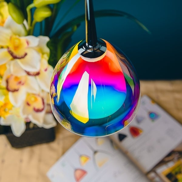 Bruck Lighting Rainbow Matte Chrome Line Voltage Pendant with Sunset Artisan Glass - Silver