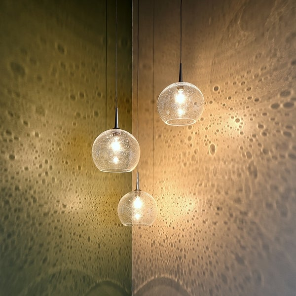 Bruck Lighting Bobo Chrome Line Voltage Pendant with Clear Hand Made Glass