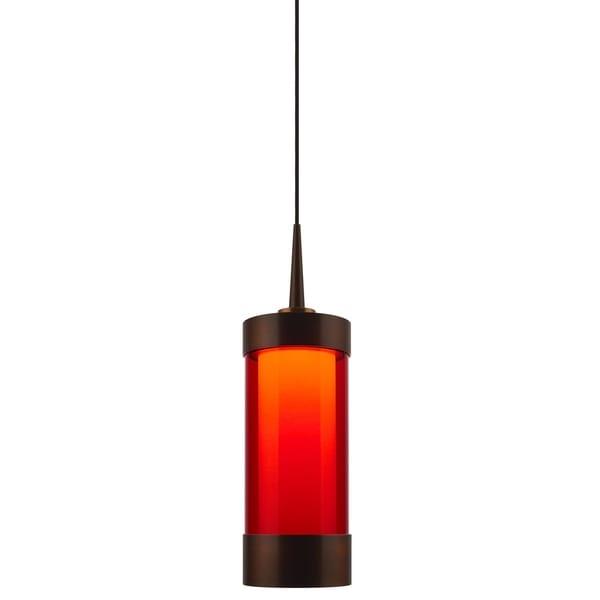 Bruck Lighting Silva Bronze LED Pendant with Red Artisan Glass