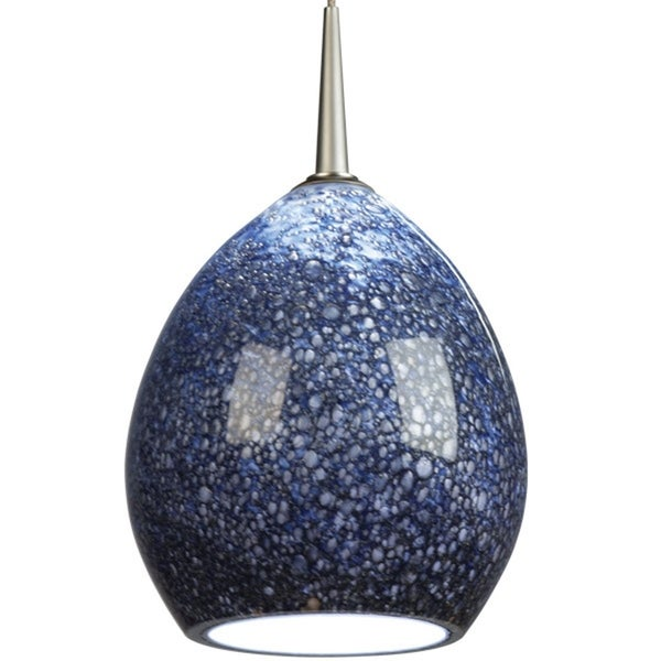 Bruck Lighting Vibe Matte Chrome Line Voltage Pendant with Pacific Artisan Glass - Silver