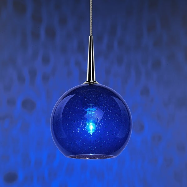 Bruck Lighting Bobo Chrome Line Voltage Pendant with Blue Bubble Hand Made Glass