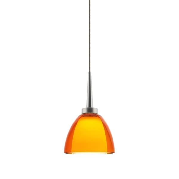 Bruck Lighting Rainbow 1 Orange Glass and Chrome LED Pendant