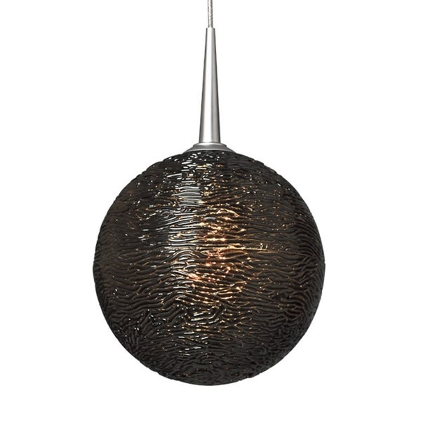 Bruck Lighting Dazzle I Matte Chrome 4.75-inch High x 4.75-inch Wide Line-voltage Pendant with Black Textured Glass