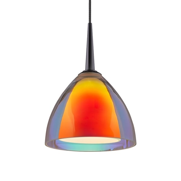 Bruck Lighting Rainbow 2 Matte Chrome LED Pendant with Sunrise Artisan Glass