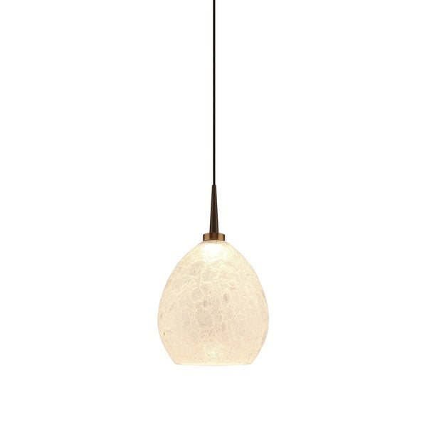 Bruck Lighting Vibe Bronze Finish Metal LED Pendant With Ice Artisan Glass
