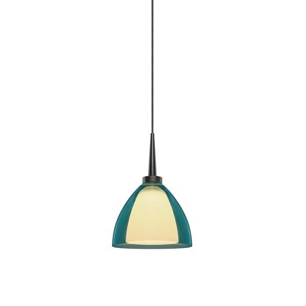 Bruck lighting rainbow 2 matte chrome turquoise artisan glass led pendant