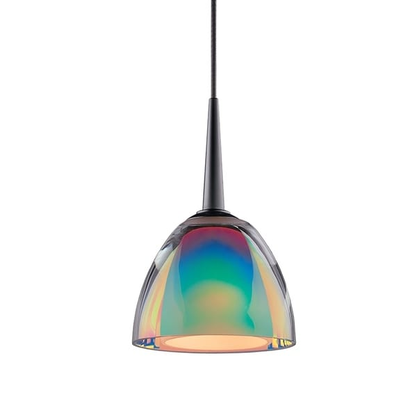 Bruck Lighting Rainbow Chrome-finished Metal/Sunset Artisan Glass LED Pendant Fixture