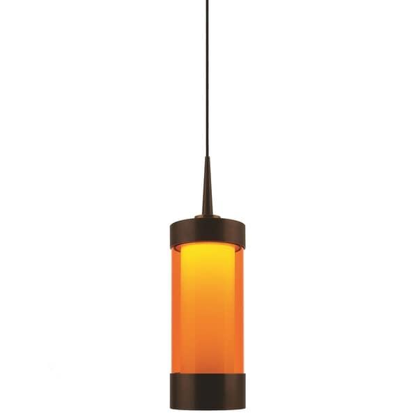 Bruck Lighting Silva Bronze LED Pendant with Orange Artisan Glass