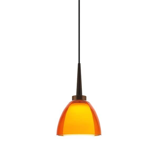 Bruck lighting rainbow bronze orange artisan glass 1 light led pendant