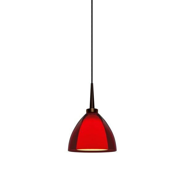 Bruck Lighting Rainbow 2 Bronze LED Pendant with Red Artisan Glass