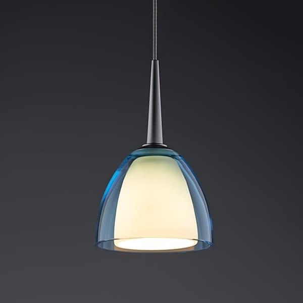 Bruck Lighting Rainbow 1 Matte Chrome LED Pendant with Turquoise Artisan Glass