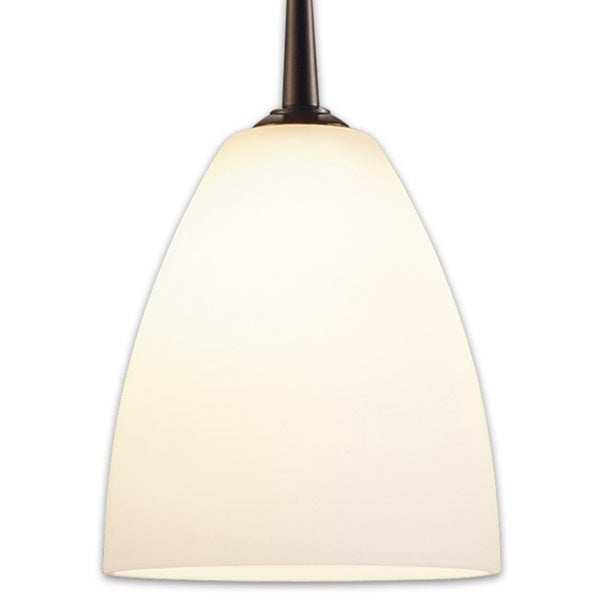 Bruck Lighting Tara Bronze Metal 4.88-inch High x 4.38-inch Wide Low-voltage Pendant with Matte White Artisan Glass