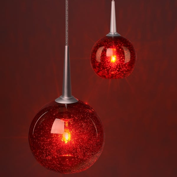 Bruck Lighting Bobo Matte Chrome Line Voltage Pendant with Red Bubble Hand Made Glass - Silver