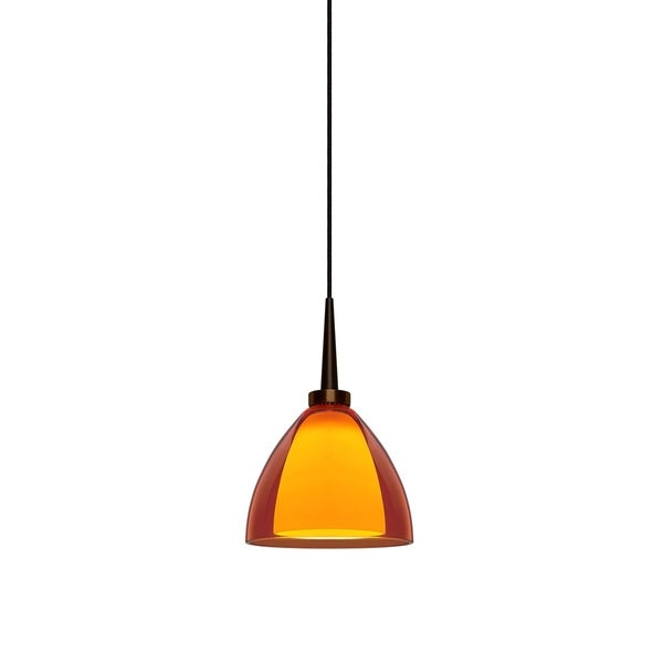 Bruck Lighting Rainbow 2 Bronze 3.5-inch High x 4.5-inch Wide LED Pendant with Orange Artisan Glass