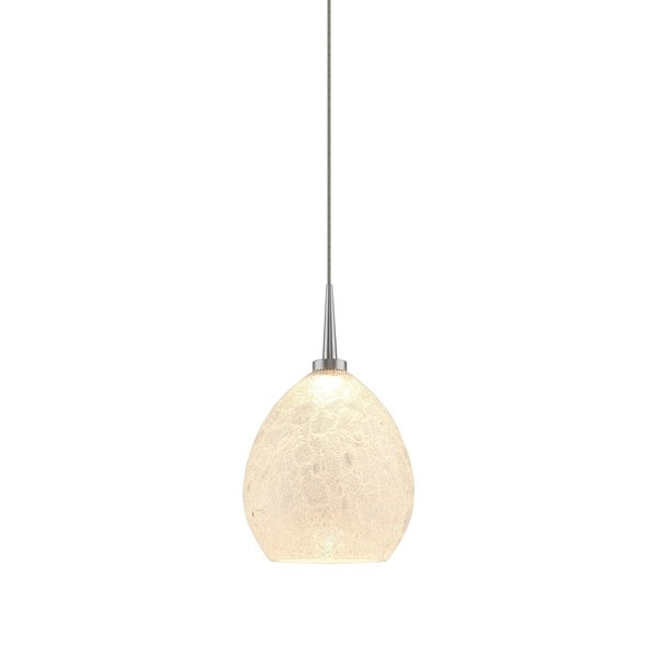 Bruck Lighting Vibe Matte Chrome LED Pendant with Ice Artisan Glass