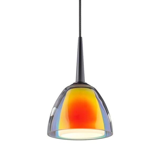Bruck Lighting Rainbow 1 Matte Chrome LED Pendant with Sunrise Artisan Glass