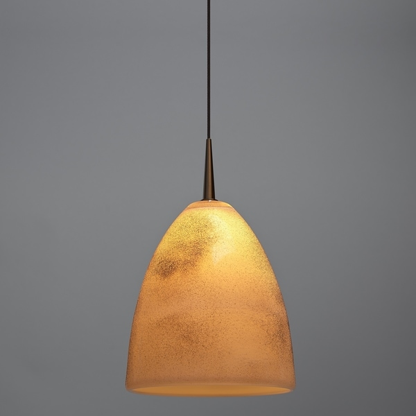 Bruck Lighting Alexander Bronze Line Voltage Pendant with Crème Mouth Blown Glass