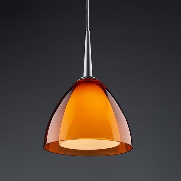 Bruck Lighting Rainbow 2 Matte Chrome LED Pendant with Orange Artisan Glass