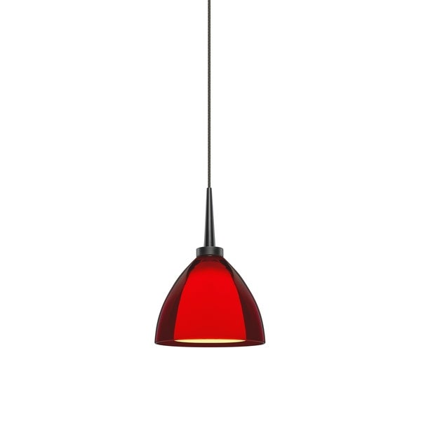 Bruck Lighting Rainbow 2 Matte Chrome LED Pendant with Red Artisan Glass