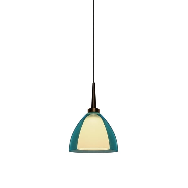 Bruck Lighting Rainbow 2 Bronze LED Pendant with Turquoise Artisan Glass