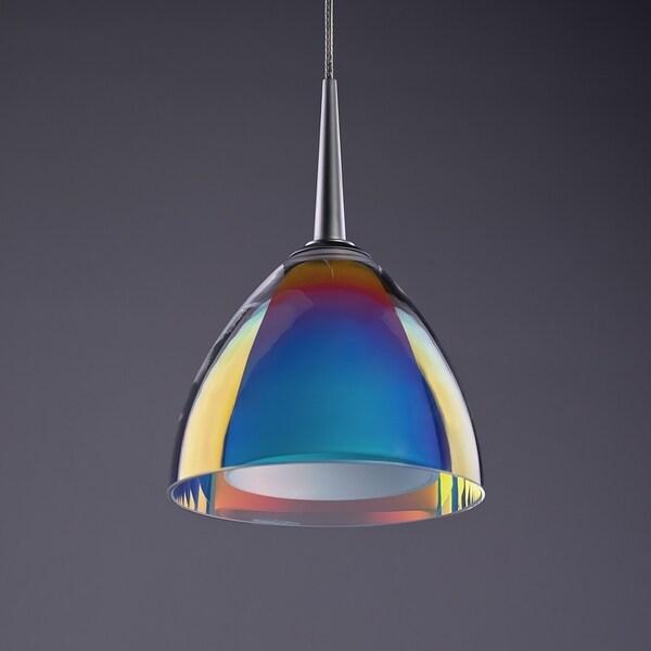 Bruck Lighting Rainbow 2 Matte Chrome Line Voltage Pendant with Sunrise Artisan Glass