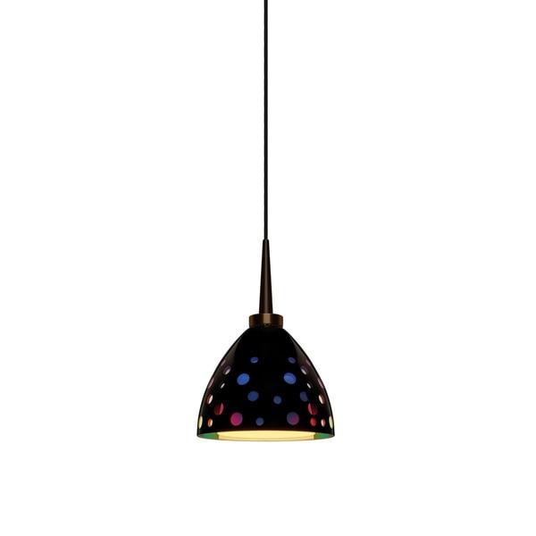 Bruck Lighting Rainbow 2 Bronze LED Pendant with Black Retro Artisan Glass