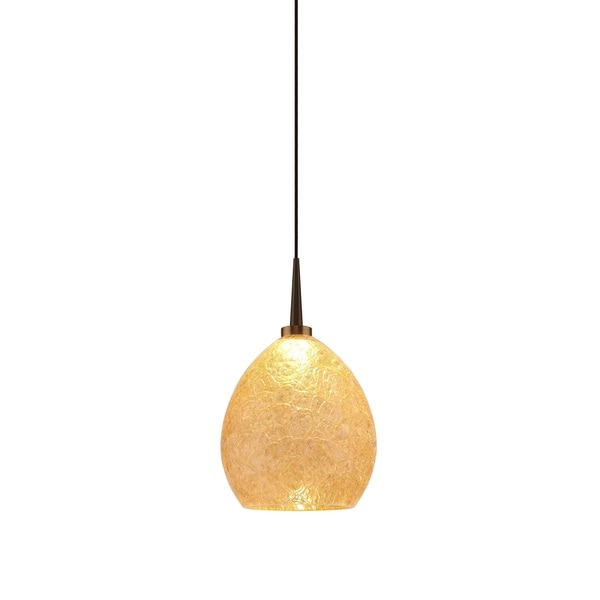 Bruck Lighting Vibe Bronze LED Pendant with Champagne Artisan Glass Shade
