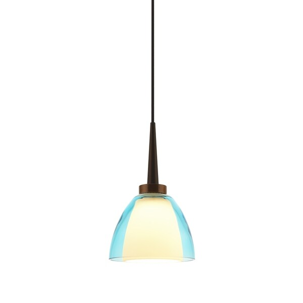 Bruck Lighting Rainbow 1 Bronze LED Pendant with Turquoise Artisan Glass