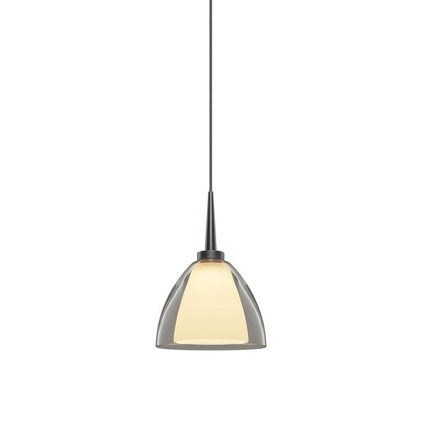 Bruck Lighting Rainbow 2 Matte Chrome LED Pendant with Clear Artisan Glass - Silver