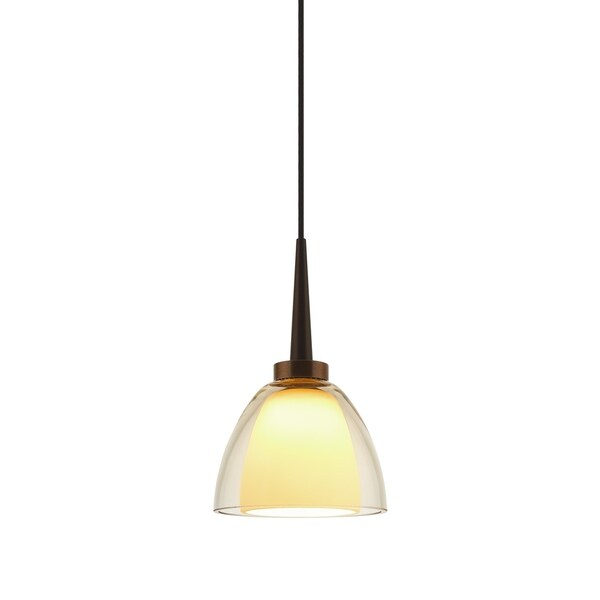 Bruck Lighting Rainbow 1 Bronze 2.63-inch High x 3.38-inch Wide LED Pendant with Smoky Artisan Glass