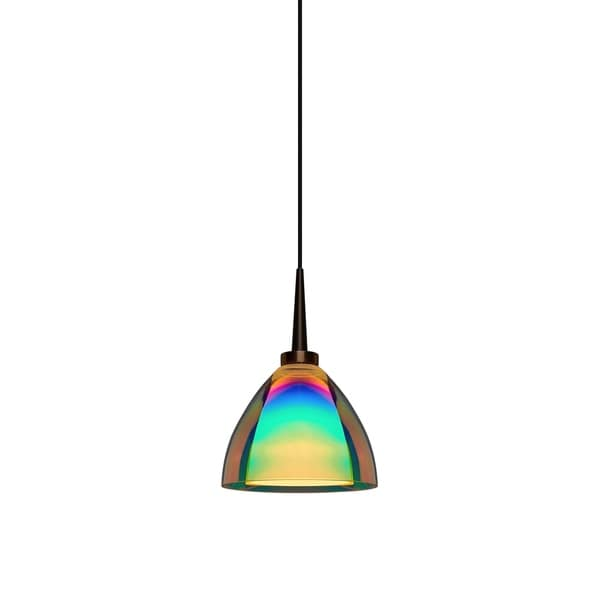 Bruck Lighting Rainbow 2 Bronze LED Pendant with Sunset Artisan Glass